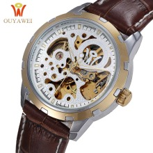 Rose Gold Men Watch OUYAWEI Automatic Mechanical Wristwatch Hot Skeleton Watches Luxury Leather Brand Mens