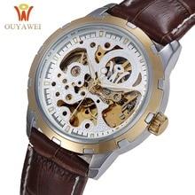 Rose Gold Men Watch OUYAWEI Automatic Mechanical Watch Gold Wristwatch Hot Skeleton Watches Luxury Leather Brand Men's Watch цена
