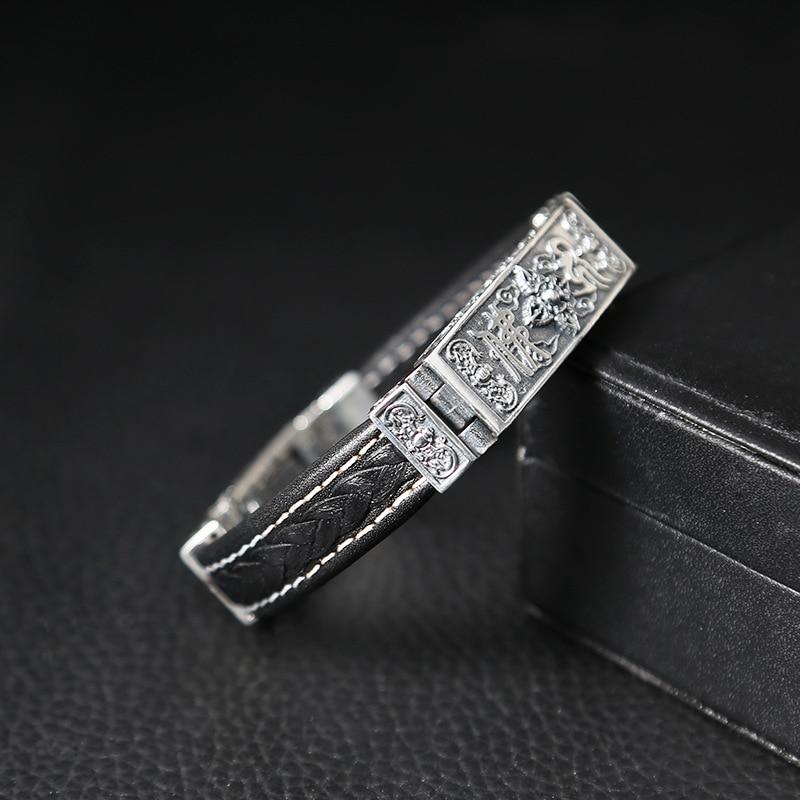 Takı ve Aksesuarları'ten Cezbedici Bilezikler'de S925 Tay Gümüş Ağır Bilezik Erkekler için Erkek S925 Ayar Gümüş Bilezik bileklik Erkek Takı doğum günü hediyesi gümüş deri'da  Grup 2