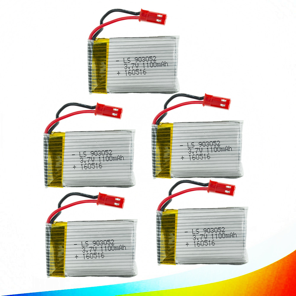 5PCS JJRC H11C H11D Lipo Battery 3.7V 1100mAh Lithium Polymer Battery for JJRC RC Quadcopter Drone Spare Parts 903052 H11WH 2 pack 7 4v 500mah lithium battery for jjrc h8c h8d rc quadcopter spare free shipping