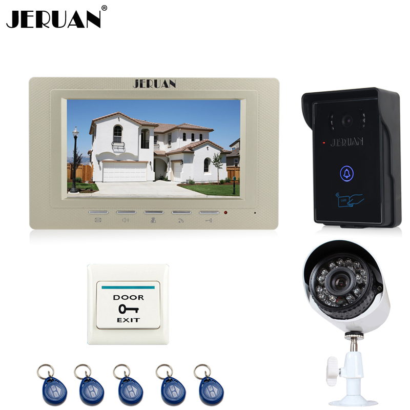 JERUAN Home wired 7`` TFT Video door Phone Entry intercom System kit waterproof RFID Access IR Camera + 700TVL Analog Camera