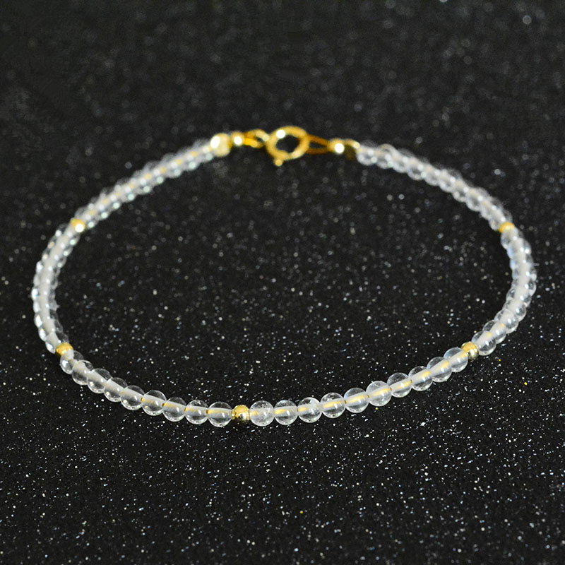 Natural White Agate 2mm Beads 925 sterling silver Gold Color Fashion Gemstone Anklet Women Gift