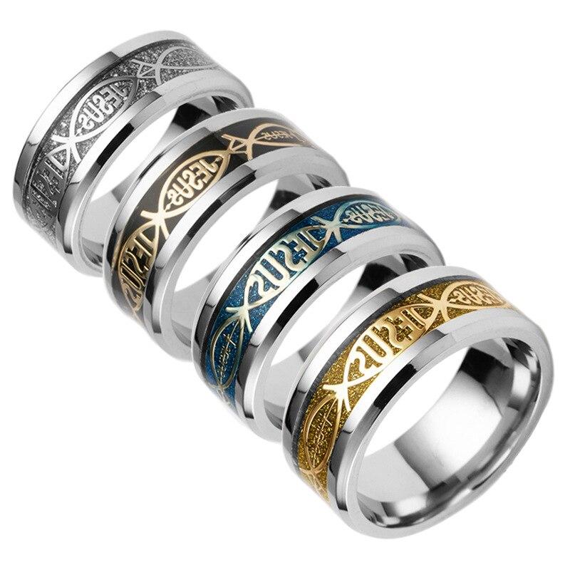 Религиозные Стиль христианский Иисус lettertitanium Кольца из нержавейки для Для женщин или Для мужчин весь обещание Свадебные Кольца Jewelry Bijoux