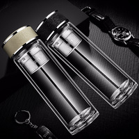 High Quality Double Wall Glass Water Bottle Man Business Tea Infuser Bottles Insulated Drinking Bottle Portable Office Drinkware
