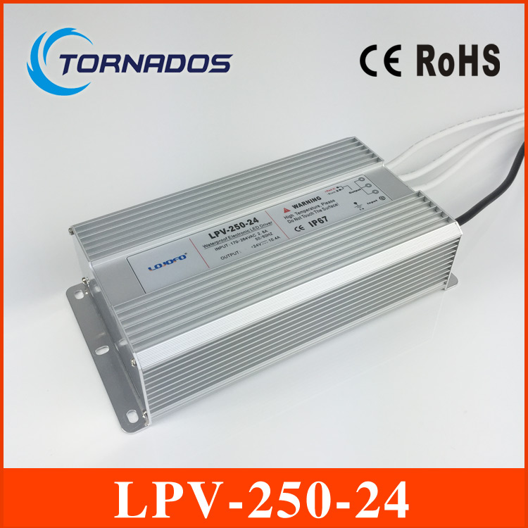 (LPV-250-24) CE Rohs approved 250w waterproof input 220v ac 24v dc led driver waterproof power supply 250w 24v meanwell 24v 60w ul certificated lpv series ip67 waterproof power supply 90 264v ac to 24v dc