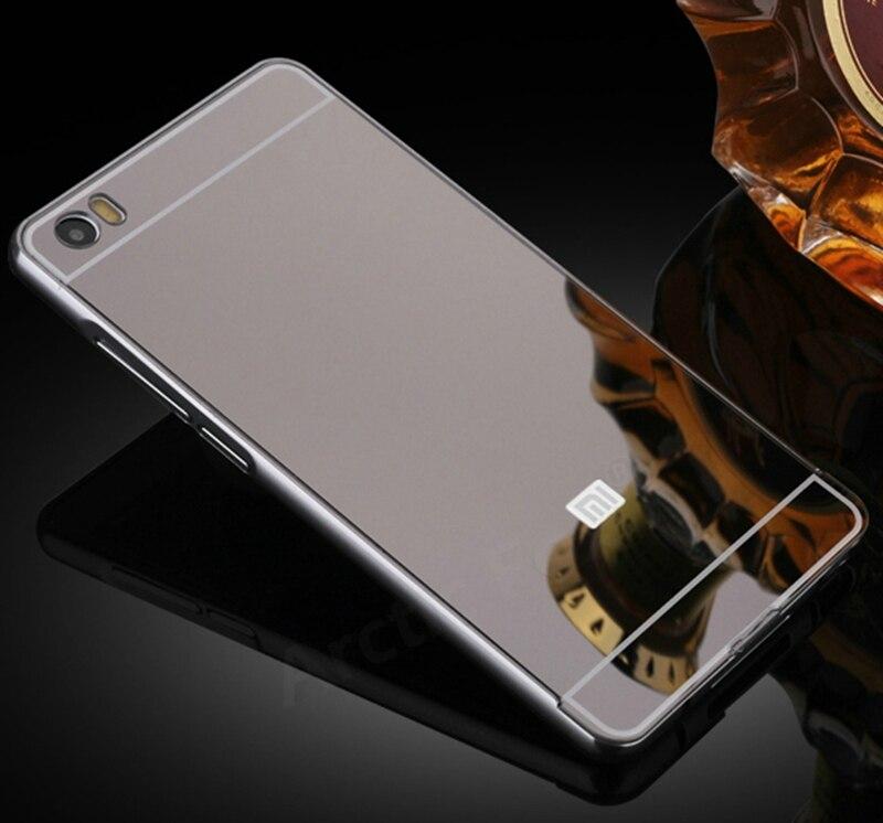 """Marco de metal de aluminio + cubierta de la caja del espejo de acrílico de lujo para xiaomi note (5.7 \"""") Accesorios Del Teléfono móvil Caja de Batería de Respaldo"""