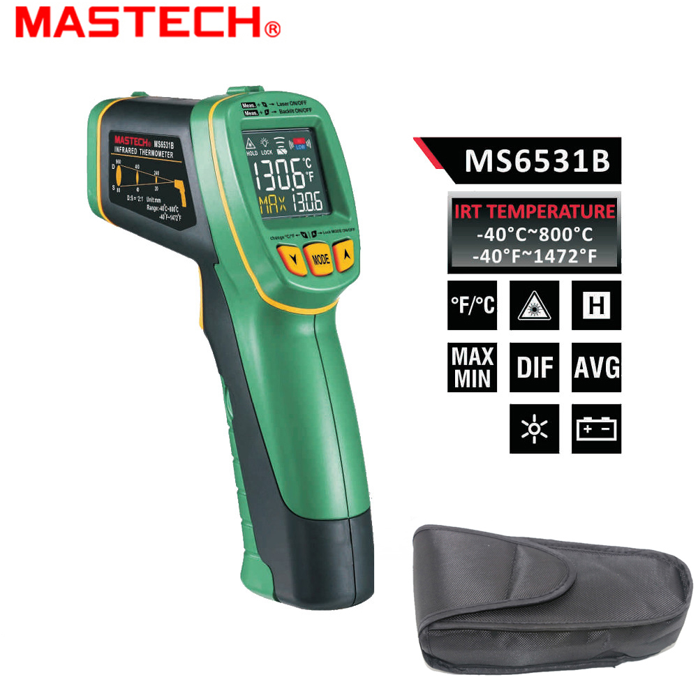 MASTECH MS6531B Non-Contact Digital IR Infrared Thermometer -40~800 degree Laser Temperature Tester mastech ms6530a d s 12 1 non contact infrared thermometer ir temperature gun with laser pointer tester 20c 850c