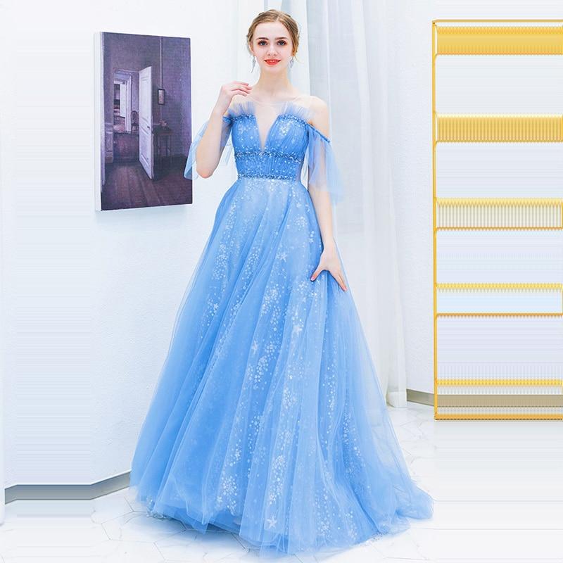 Evening     Dress   Backless Long Plus Size Prom   Dress   2019 O-neck Off The Shoulder Robe De Soiree Short Sleeve Women Party   Dress   E589