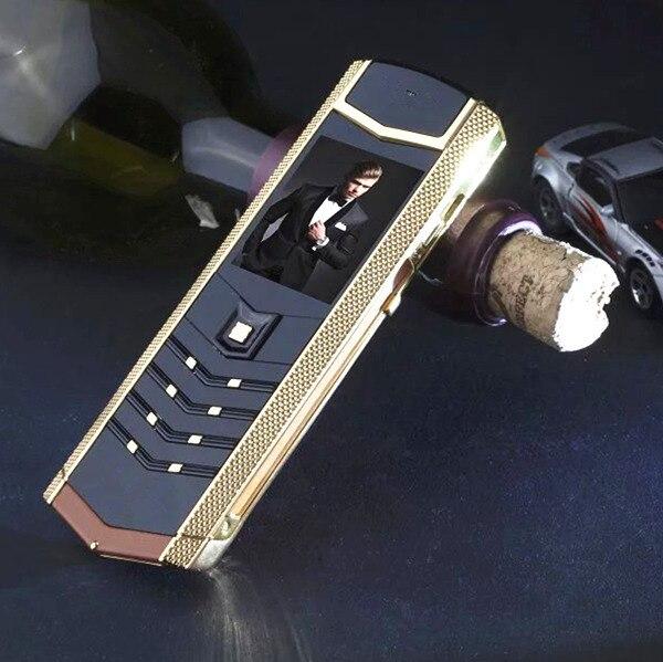 Russa teclado botão de metal + couro de Luxo habitação original china Telefones Celulares gsm dual sim bluetooth telefone móvel H-móvel V1