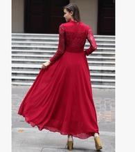 MAYFULL Women long sleeved dress lace collar slim big swing party