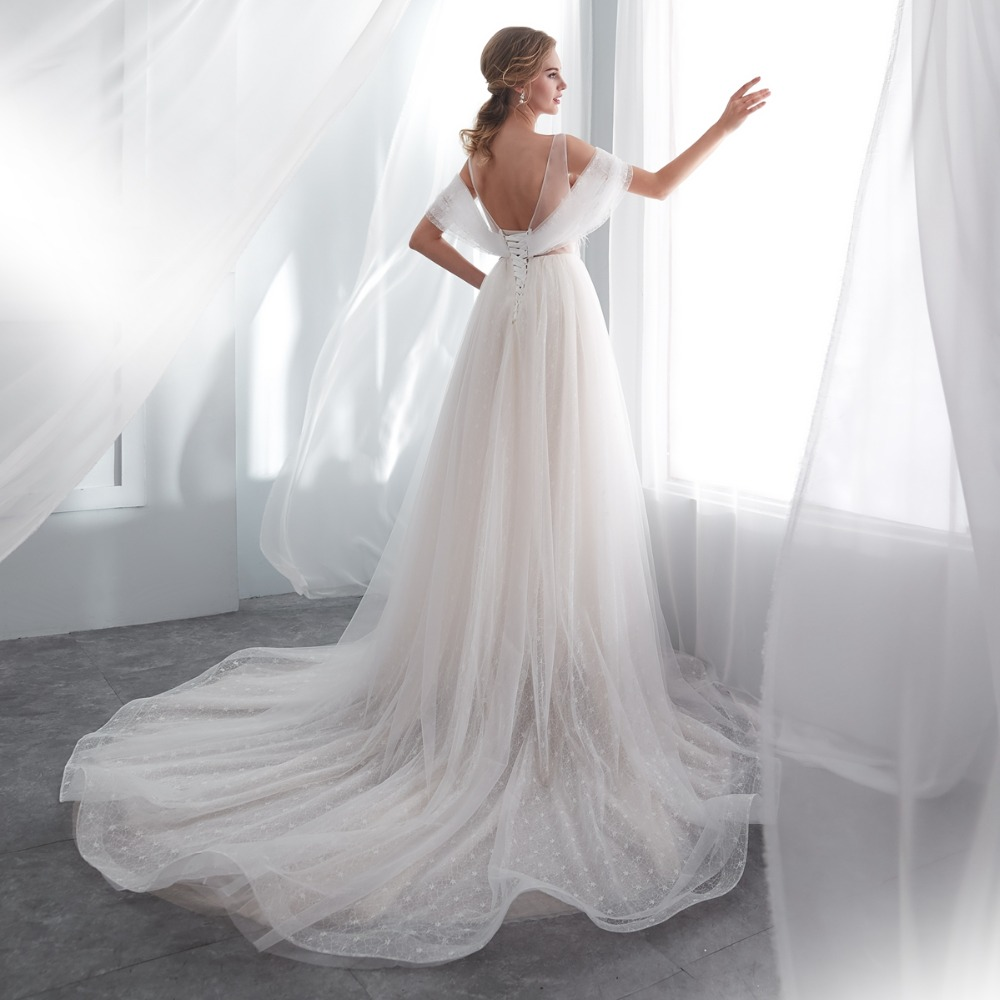 Walk Beside You Robe De Mariee 2018 Wedding Gown Romantic Off Shoulder Sheer Neck Feather Pearl Empire Waist Lace Bridal Dresses