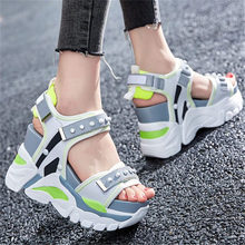 NAYIDUYUN  Summer Sandals Shoes Women Cow Leather Wedges High Heel Gladiator Spike Studed Breathable Sneakers Trainers