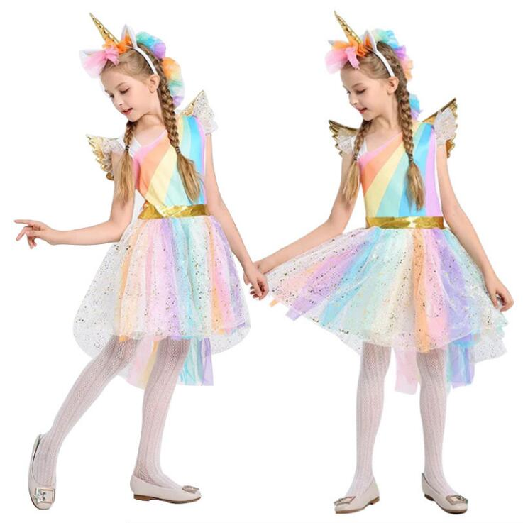 Free Shipping Movie Unique Deluxe Kids Girls Rainbow Unicorn Costume for Girl Halloween Carnival Party Dress Costumes