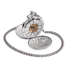 Fashion Silver Tone Double Full Hunter Case Roman Number Skeleton Steampunk Hand-wind Mens Mechanical Fob Pocket Watches New