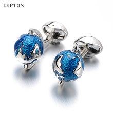 Лептон глобус Запонки в виде земного шара для мужчин синий вращающийся