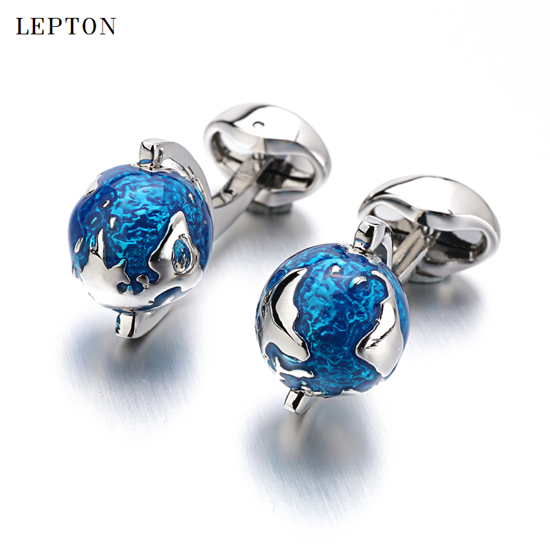 Lepton Globe Earth Cufflinks For Mens Blue Rotatable globe planet earth World Map Cuff links With Gift Box Cufflink gemelos