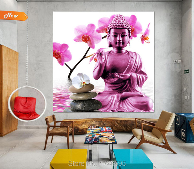 modern home decor wall Art Picture pink flower Buddha printed oil ...