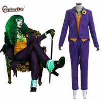 Cosplaydiy The Dark Knight Joker Cosplay Costume Female Joker Suit Outfits Women Halloween Carnival Clothing Custom Made