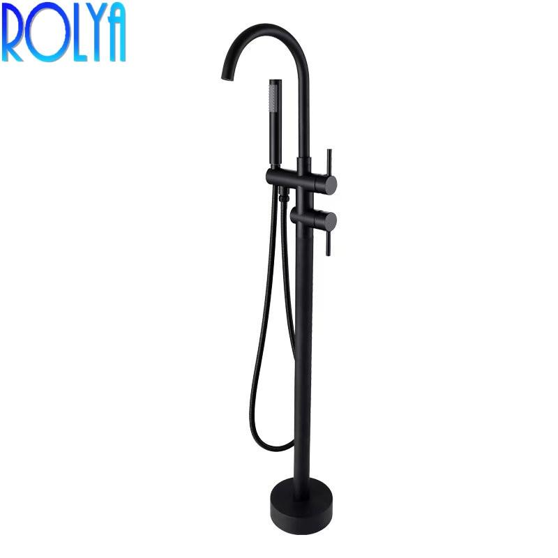 ROLYA noir mat de grande hauteur rond autoportant bec robinet de douche mitigeur de bain robinet monté au sol baignoire remplissage série Blanoir