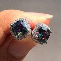 Luxury Female Crystal Zircon Stone Earrings Fashion Silver Color Jewelry Vintage Double Stud Earrings For Women