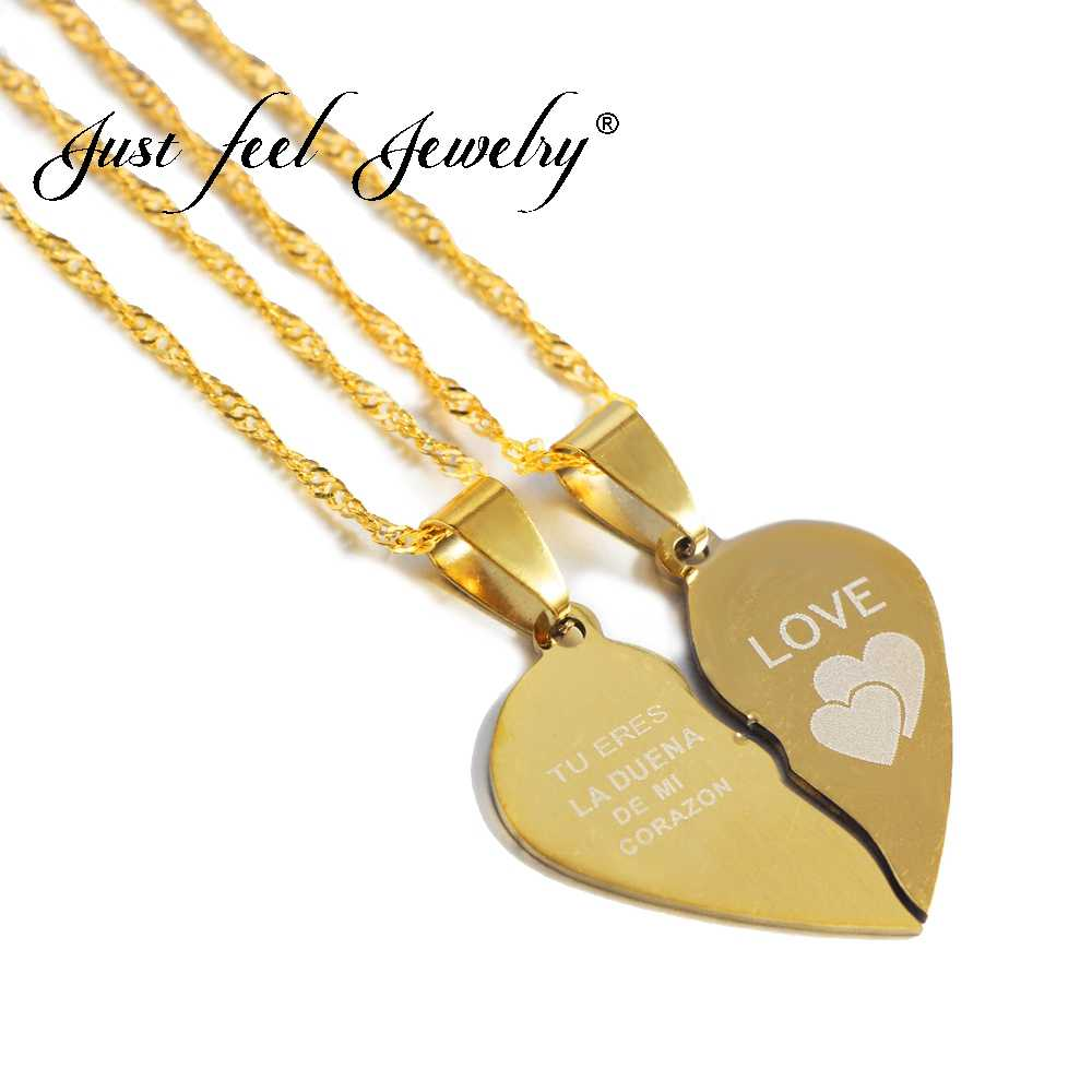 "JUST FEEL Hot Broken Heart Necklace Spanish ""You Are The Master Of My Heart"" Two Halves Spliced Couple Necklace for Lovers Gifts"