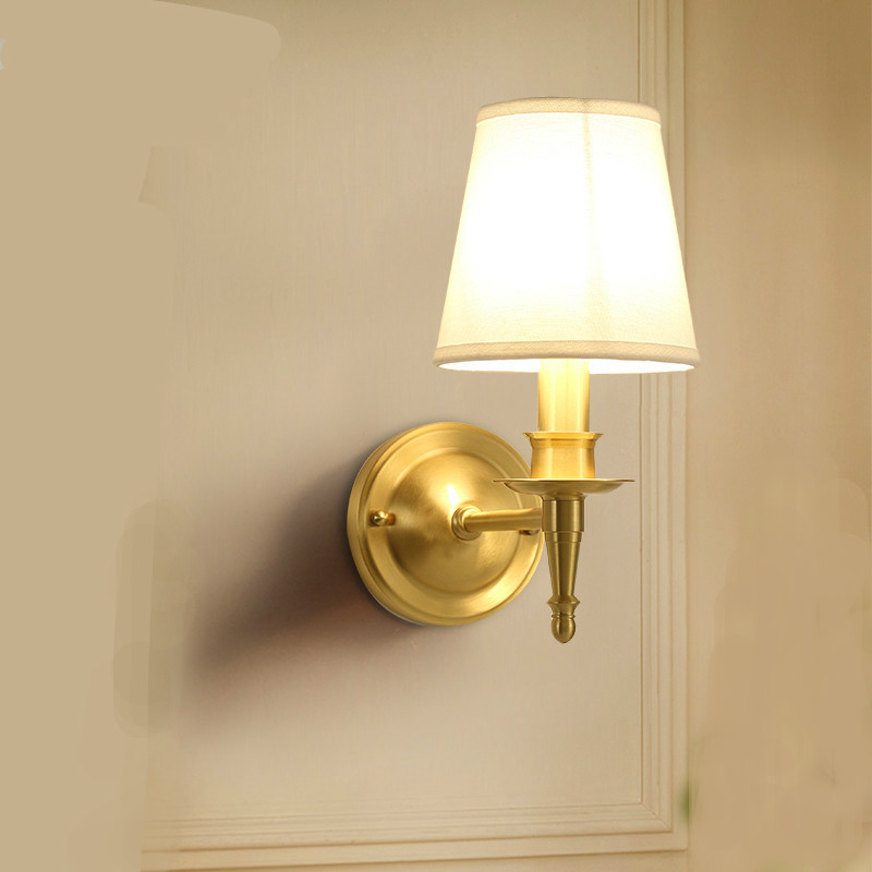 Simple Fabric Tall Wall Light: New European Simple Copper Fabric Led E14 Wall Lamp For