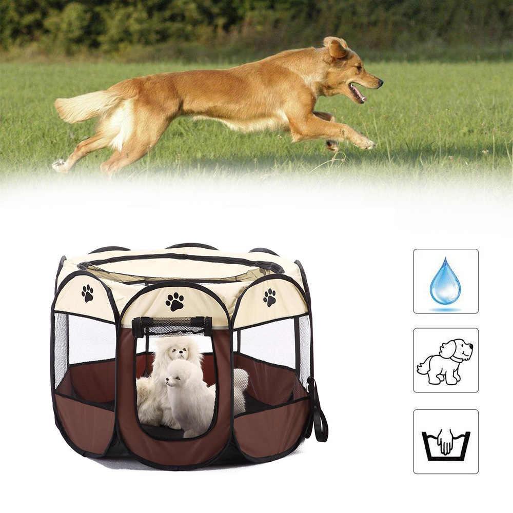 Portabel Lipat PET Tenda Anjing Rumah Kandang Anjing Kucing Tenda Boks Anak Anjing Kennel Mudah Operasi Oktagonal Pagar Perlengkapan Outdoor
