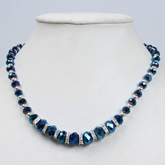 7ad9f2cc9 Fashion Dark Blue Crystal Glass Faceted Beads Magnetic Clasp Necklace 45CM  one piece 201