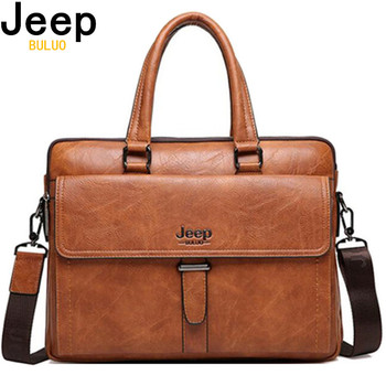 "JEEP BULUO Brand Men Tote Casual Briefcase Business Shoulder Bag Brown Leather High Quality Messenger Bags 14""Laptop A4 Files"