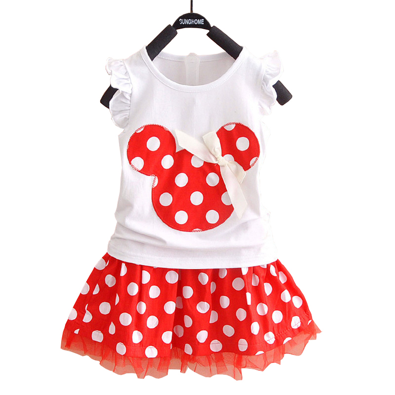 Fashion Princess Minnie Mouse Baby Kid Girl Summer Style Dress Clothes Cute Cartoon Party Mini Dress 2 Pcs Cartoon Kids Clothing