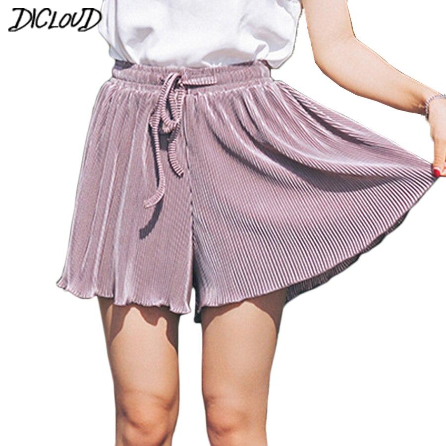 Casual   Shorts   Women 2018 Loose High Waist Summer   Short   Feminino Large Size Chiffon Pleated Solid   Short   Boho Beach Spodenkie