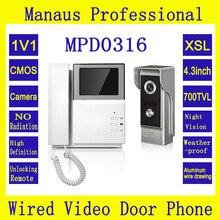 4.3 pulgadas de Monitor de Video de La Puerta Del Timbre Del Teléfono con Cámara Impermeable Al Aire Libre IR de La Visión Nocturna Con Cable de Intercomunicación para la Casa Privada D0316