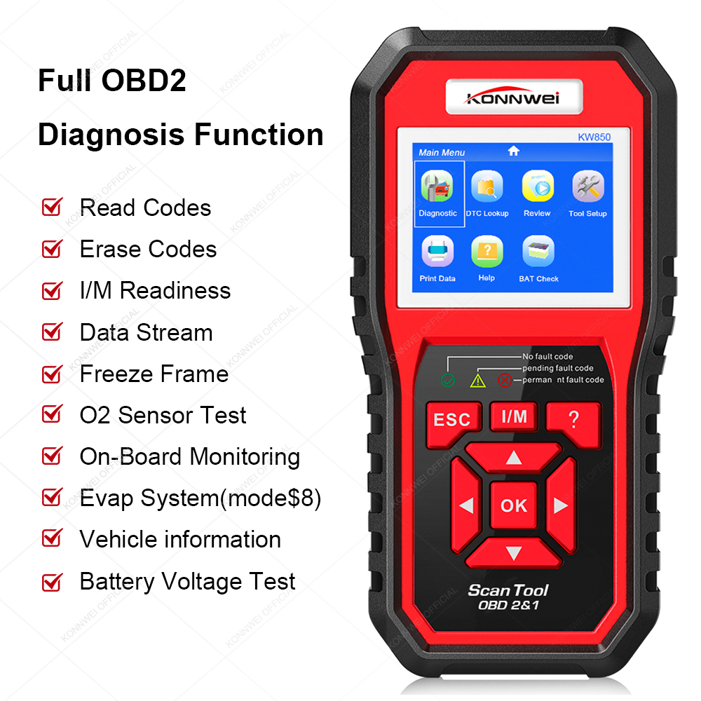 KONNWEI KW850 OBD2 Code Reader KW 850 With Multi-languages Automatic Code Scanner Online Update Free