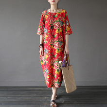 Johnature женское хлопковое льняное платье с принтом халаты с цветочным принтом О-образным вырезом с коротким рукавом новые винтажные повседневные свободные зеленые красные летние платья