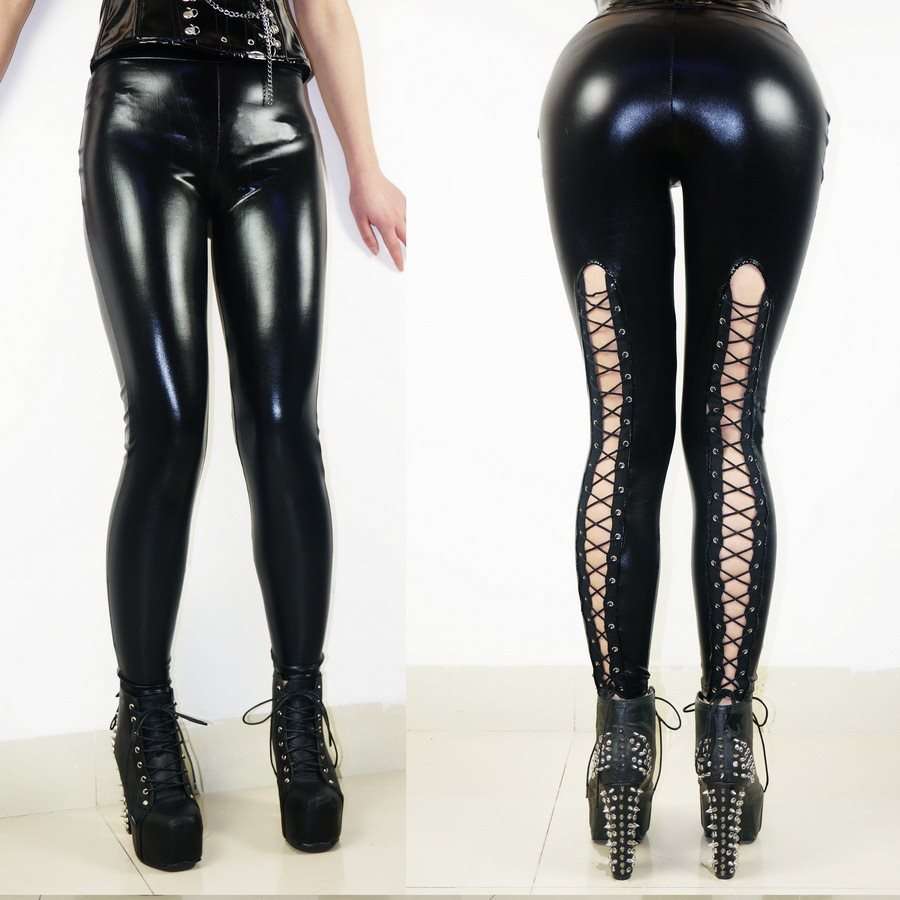 Newest Women Hollow Out Faux Leather Black Pants Trousers Stretch Lace Up Punk Gothic Leggings Sexy PVC Render Pants