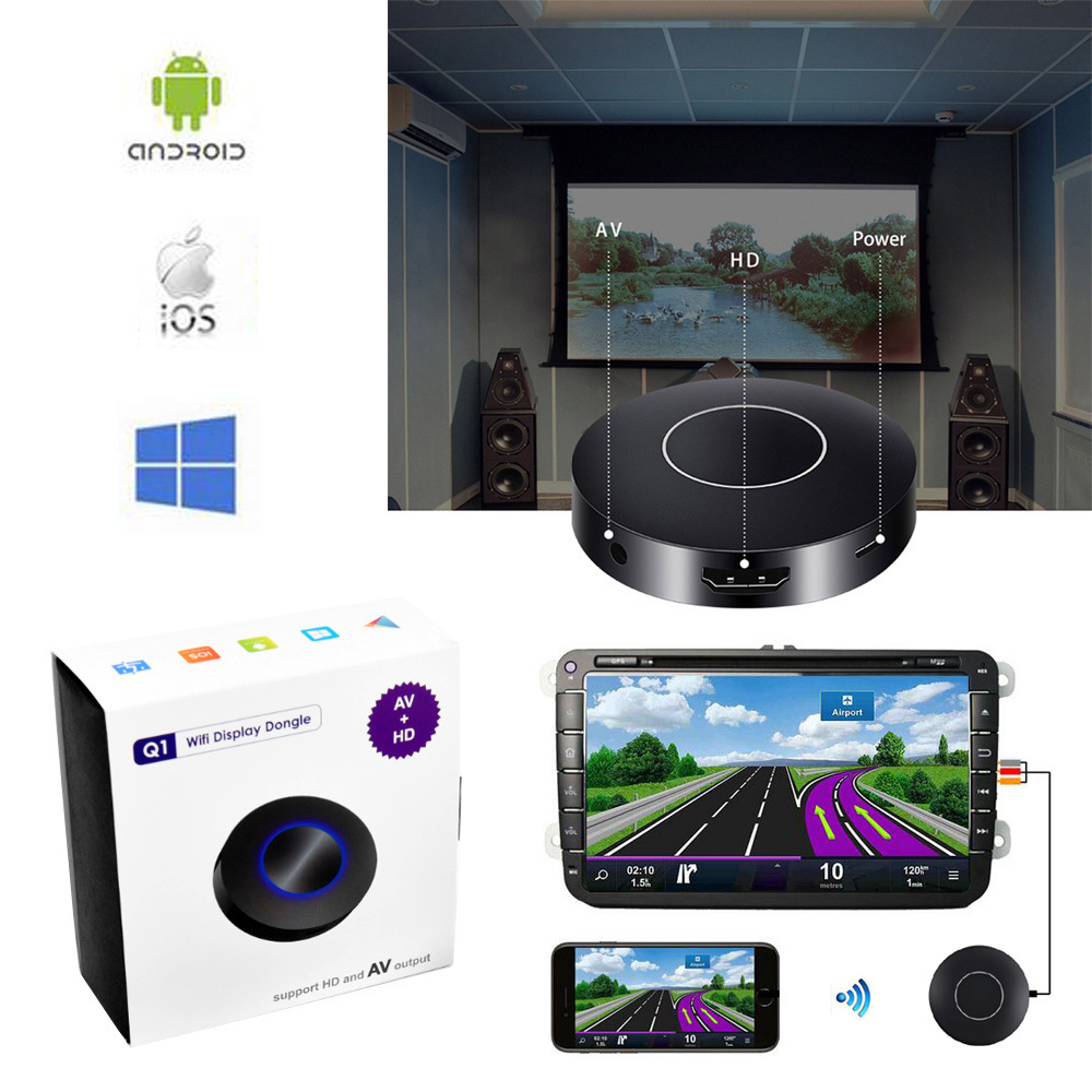 Auto Car Media DLNA Miracast Airplay Screen Mirroring TV Stick Digital Wireless HDMI AV RCA Output Video Streamer Display Dongle стоимость