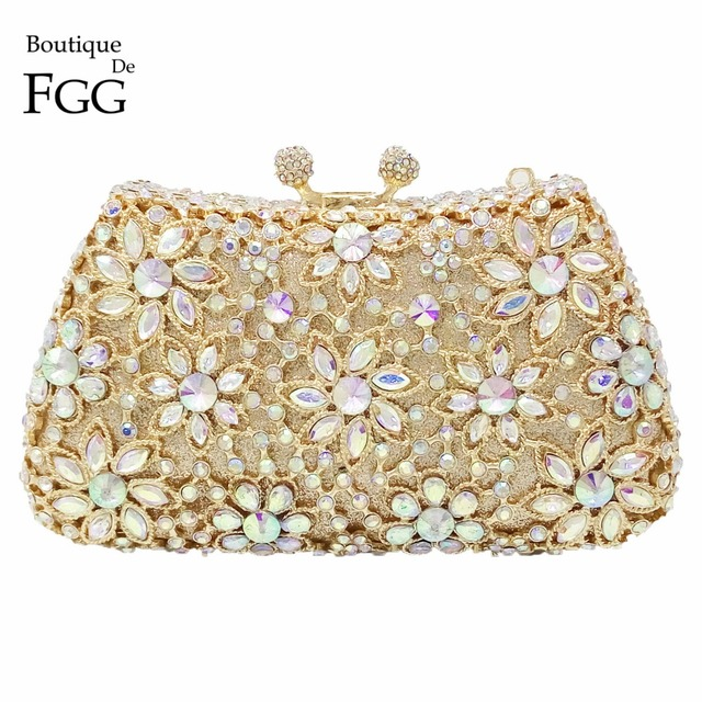 Socialite Women's Gold Plating AB Crystal Flower Evening Bags Wedding Party Bridal Handbags Purse Metal Clutches Shoulder Bags