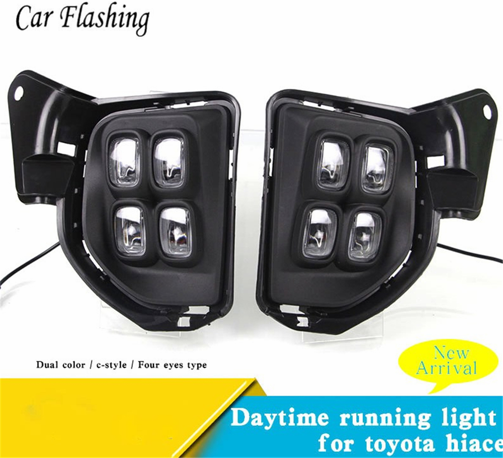 US $50 0 25% OFF|Wholesale car styling 1set LED DRL Daytime driving Running  Lights Daylight Waterproof Fog lamp For Toyota Hiace 2016 2017 2018-in Car