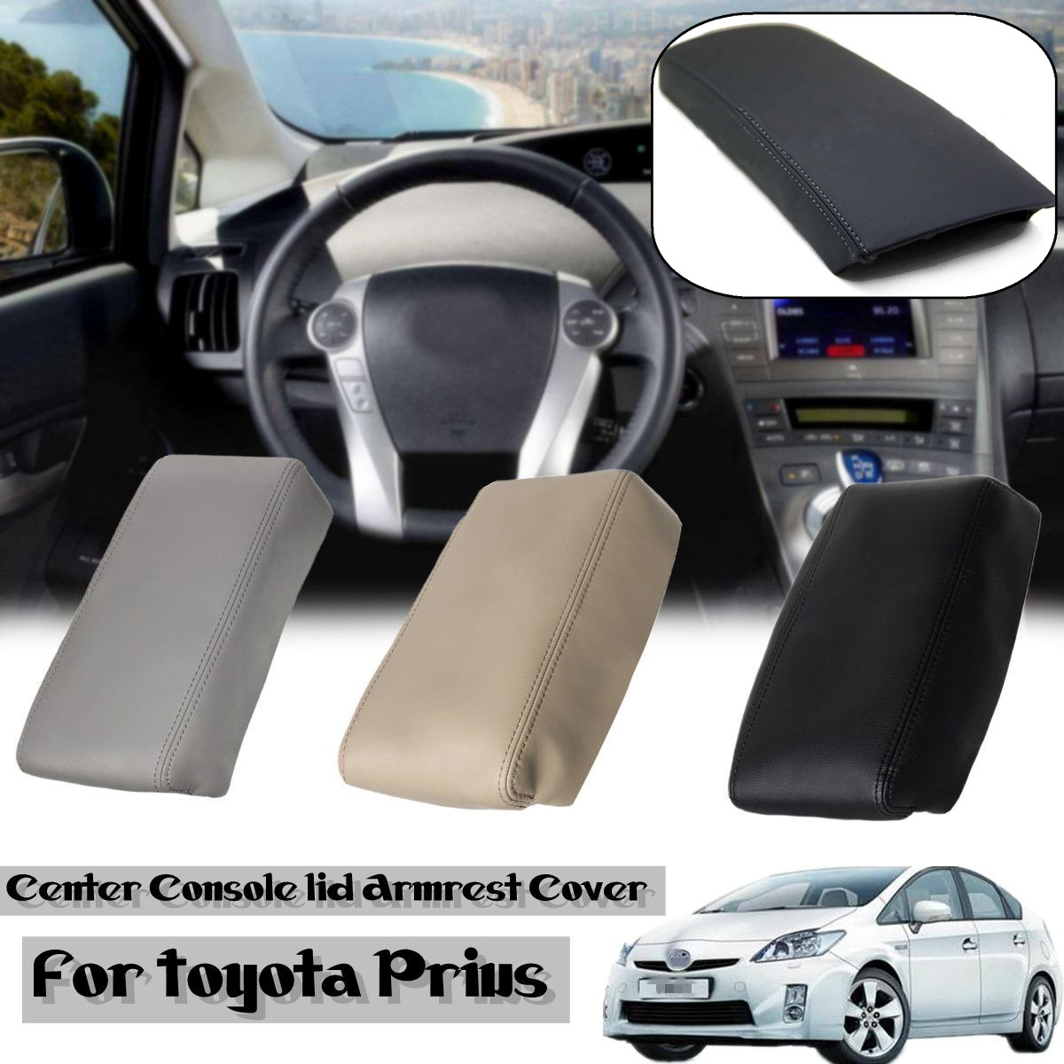 PU Leather Car Center Console Armrest Cover Auto Arm Rest Box Pad Lid Cover Protection for Toyota Prius 2004-2009 fit for audi a4 b6 b7 armrest arm rest center console storage box lid cover car interior styling 2002 2003 2004 2005 2006 2007