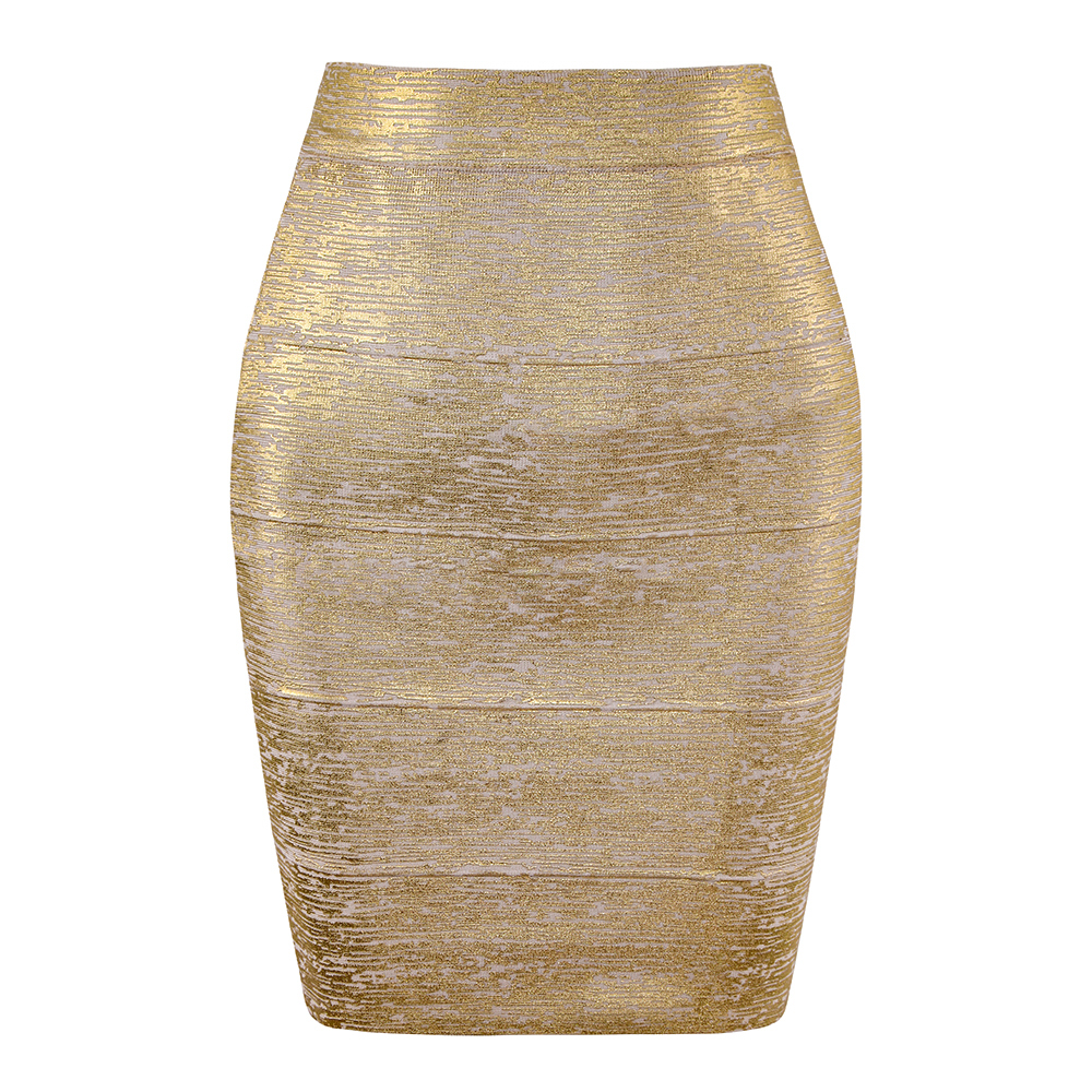 Wholesale Women Summer Skirt Sexy Black Silver Gold Bandage Skirt High Street Designer Skinny Club Party  Mini Pencil Skirts