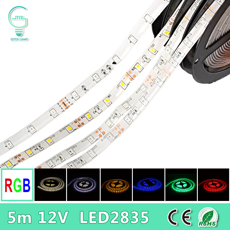 5M 12V RGB Led Strip 2835SMD Flexible Strip Light Waterproof Ribbon Lamp Indoor Decorative Tape White Blue Red Green