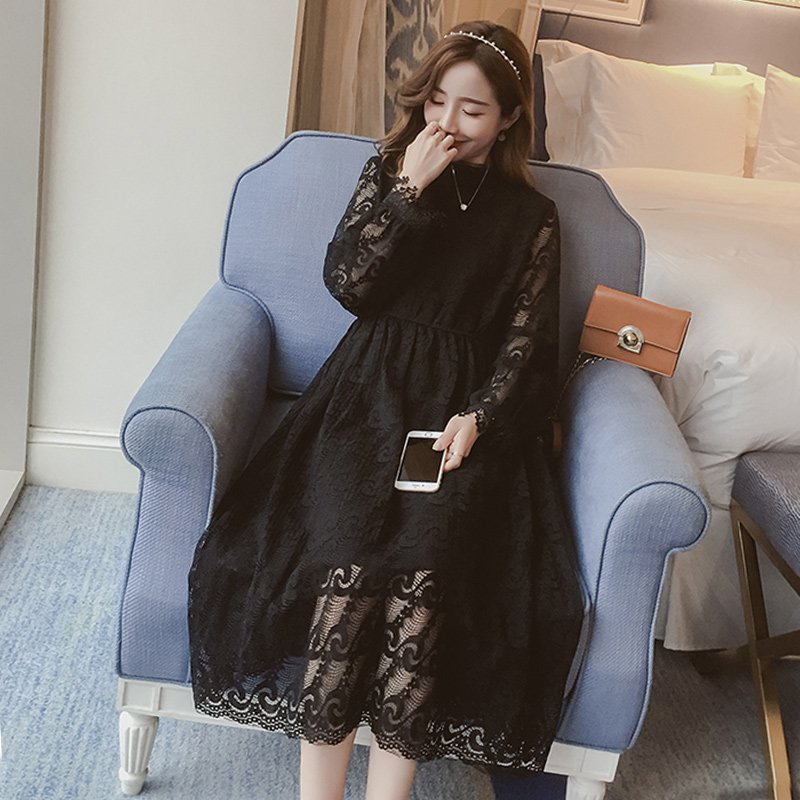 2018 spring maternity lace casual maxi dresses for pregnant women pregnancy fashion lace crocher chiffon long sleeve long tunics 2017 new spring women maternity t shirt