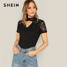 f9e626e6a9 SHEIN Sexy Black Floral Lace Insert V Cut Mock-Neck Tee Solid Short Sleeve T -Shirt Women 2019 Summer Sheer Elegant Tshirt Tops
