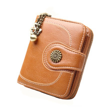 High quality artificial leather vintage womens wallets female short coin pocket purse ladies zipper button small retro wallet недорго, оригинальная цена