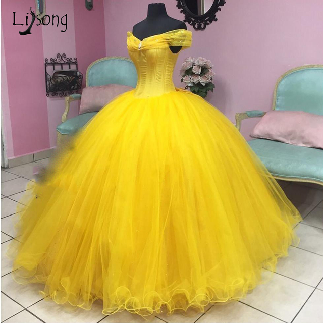 c7ccbf954d1 US $136.74 14% OFF|Aliexpress.com : Buy Princess Yellow Tutu Ball Gowns For  Pretty Lady To Party Vintage Ruffles Prom Dresses Off Shoulder Prom Gowns  ...