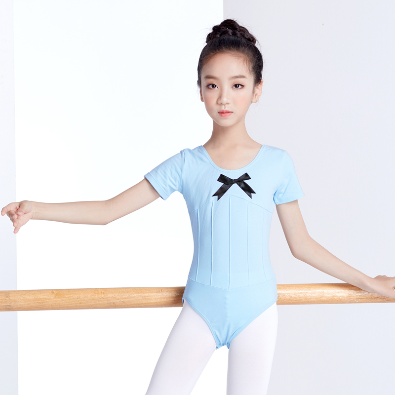 Pink Long Sleeve Ballet Dance Training Leotard Girls Gymnastics Pleated Leotard Dance Clothes Kids Children Ballerina Costume