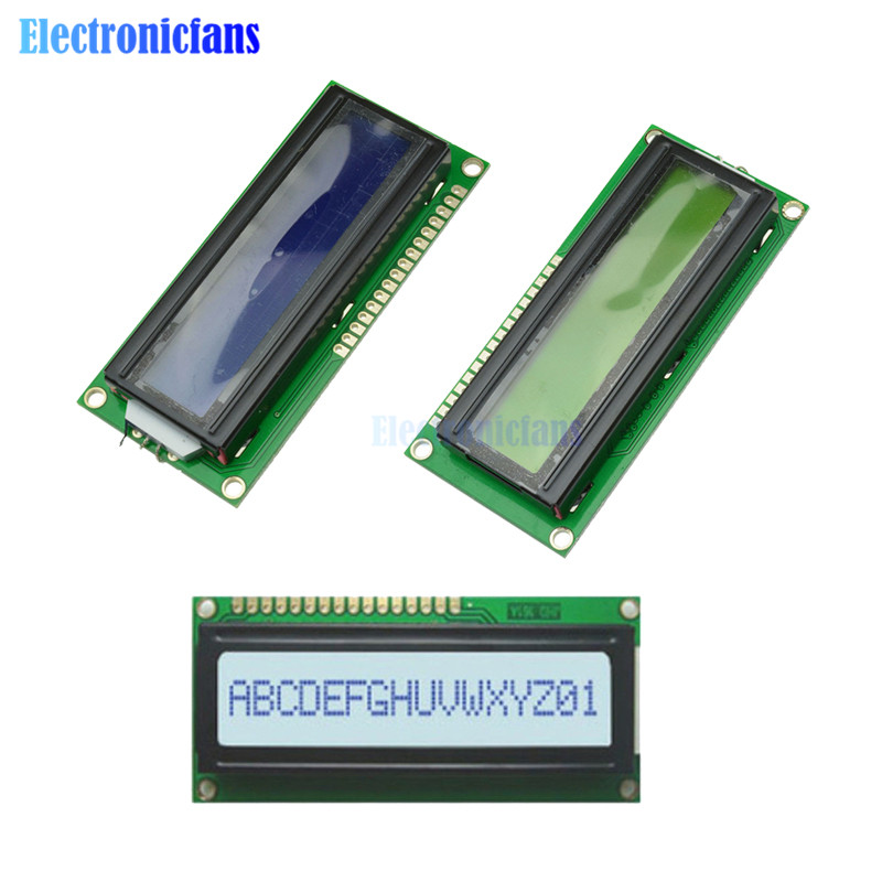 1601 16X1 Character Digital LCD Display Module LCM STN SPLC780D KS0066 LED Backlight Row Interface Board Blue/White/Yellow 5V