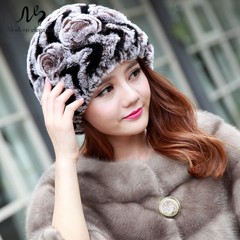 Hot Genuine Rex Rabbit Fur Hats for Women Natural Caps Lady Winter Warm Real Knitted Beanies Headwear