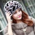Hot Genuine Rex Rabbit Fur Sombreros para Mujer Natural Rex Conejo Gorros de piel de Señora Caliente del Invierno de Piel de Conejo Real de Punto Gorros Sombreros
