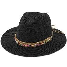 Moda hombres mujeres Unisex paja del sombrero del sol del verano gorras  gorra de ala ancha playa Floppy Bohemia estilo fb72826680b